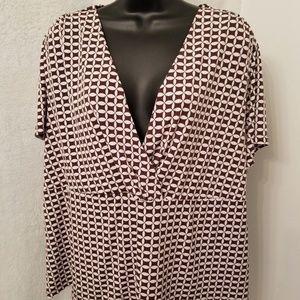 Worthington Brown White Circle Design Shirt